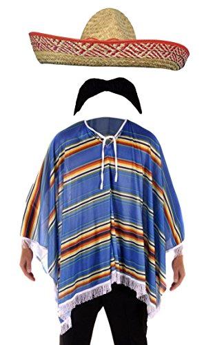 Bristol Novelty Kostüm Mexikanischer Bandit - für Herren - Poncho, Sombrero & Schnurrbart