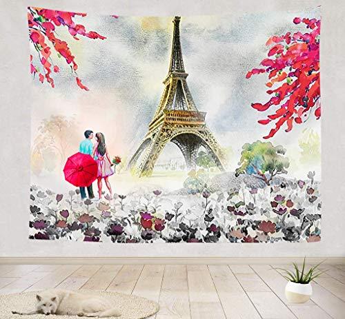 Tapiz de la Torre Eiffel de París, pareja moderna y flores de cerezo bajo el tapiz de la pared de la Torre Eiffel, París, vista a la ciudad europea, tapiz de pintura al óleo, tapiz para dormitorio, sa