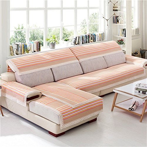 Z & HX - Sofaüberwurf Sofabezug 3 + 2 Sitzer Hanf, Gitter/Sofa Vier Jahreszeiten/Verschleißfest, Anti Verschmutzt/Import,A