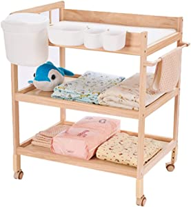 Extra High Baby Changing Table with Storage Box  Wood Diaper Station Nursery Organizer for Infant Bath Station with Wheel