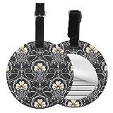 Damasco - Juego de etiquetas para maleta de piel personalizada, accesorios de viaje, etiquetas redondas para equipaje Negro Negro 1 unidad