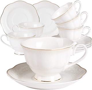 GuangYang 6 Tasse à Café Thé Blanche Porcelaine - Service à Café Fine Anglaise Relief à Fleurs avec Bord Doré Tasses et So...