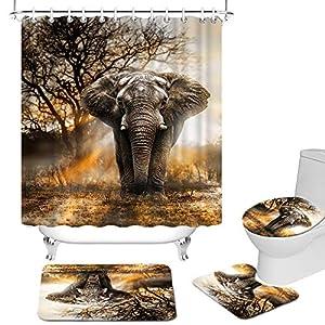 4 Piece Elephant Bathroom Set Cloth with Non-Slip Rug Toilet Lid Cover Bath Mat African Animal with Sunshine Trees Shower Curtain Wildlife Bathroom Decor Gray Orange Unisex