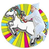 ラウンドソフトエリアラグ3Ftfor Kids Baby Girls Teen's Room Circle Nursery Rug for Bedroom Living Room Home Decor、Color Unicorn Pop Art Beautiful
