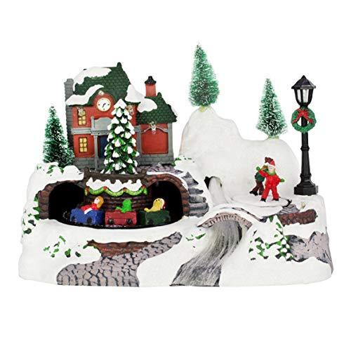 The Christmas Workshop - Adorno de Tren, diseño Animado, Multicolor, 24 cm de Alto x 17 cm de Ancho x 15,7 cm de...