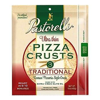 Pastorelli Ultra Thin Pizza Crust– Traditional Low Sodium Pizza Crust - 12 inch Pizza Crust – Pack of 10 3 count Pizza Crust  Total 30 Thin Pizza Crusts