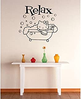 Vinyl Wall Decal Sticker : Relax Hello Kitty Bubble Bath Bathroom Image Quote Bedroom Bathroom Living Room Picture Art Peel & Stick Mural Size: 16 Inches X 16 Inches - 22 Colors Available
