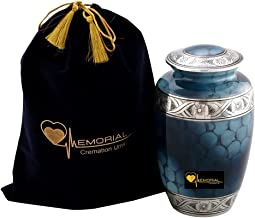 Love Memorial - Urns for Human Ashes - Blue Cloud Decorative Cremation Urn for Funeral with Velvet Bag for Storage - Buria...