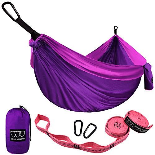 Gold Armour Camping Hammock - Single Parachute Hammock, USA Brand Lightweight Nylon Portable Adult Kids Best Accessories Gear (Purple)