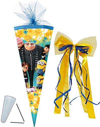 alles-meine.de GmbH Schultüte -  Minions - ich einfach unverbesserlich  - 85 cm - eckig - incl. große 3-D Effekt _ Schleife - Tüllabschluß - Zuckertüte - Nestler - mit / ohne K..
