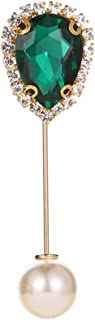 Chinkyo Broche de perlas con forma de gota de agua y cristales para mujer
