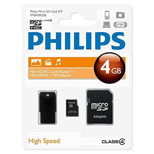 Philips MicroSDHC-Card 4GB, Class 4 mit SD und USB Adapter