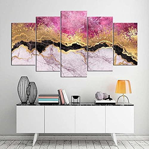 5 Lienzos Impresión Cuadros Piedra de mármol Rosa Modificado Imagen Gráfica Decoracion para Salón Dormitorio Pared Listo para Colgar Marco 150X80cm