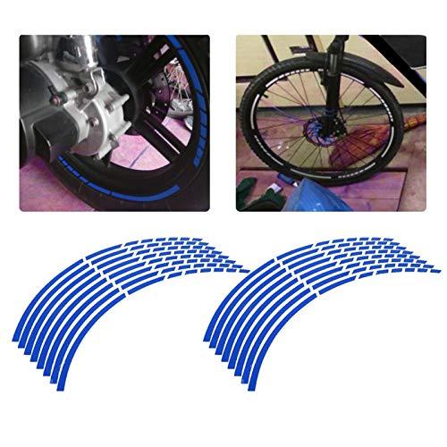 16 Uds cinta reflectante para llanta de rueda, cinta adhesiva para bicicleta, motocicleta, 16-18 pulgadas, pegatinas reflectantes para tira de rueda, accesorio de decoración(azul)