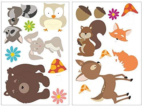 Samunshi® Drôles de 17 pièces Animaux de la forêt Sticker mural pour chambre de Chambre de bébé, multicolore, 2x 21x34cm