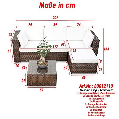 erweiterbares 15tlg. Balkon Polyrattan Lounge Ecke – braun – Sitzgruppe Garnitur Gartenmöbel Lounge Möbel Set aus Polyrattan – inkl. Lounge Sessel + Ecke + Hocker + Tisch + Kissen - 3