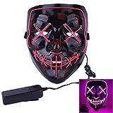 YUANSHOP1 オシャレled光るマスク かっこいい ホラー マスク 仮面 コスプレ 小物 お面 道具 面白い ハロウィン,クリスマス,文化祭,仮装,パーティーなど場合に最適 (ピンク)