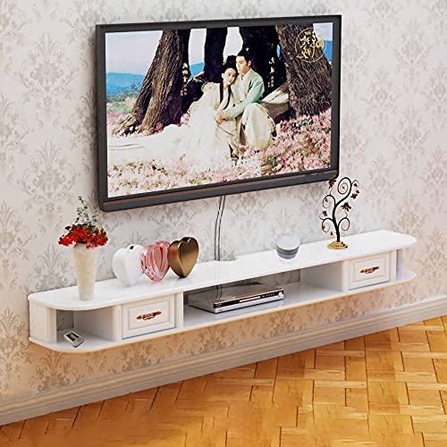 Mueble de TV Flotante, Mueble TV de Pared, Reproductor de DVD/Blu-Ray Montado en la Pared Soporte de Fondo Caja de TV Satelital Caja de Cable/Blanco / 120cm