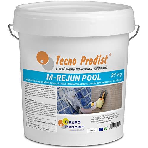 M-REJUN POOL de Tecno Prodist - (21 kg) Mortero flexible para sellado de juntas de baldosas y gresite en piscinas, ceramica, ladrillo, etc, apto para inmersión permanente (Junta 2 a 20 mm) Blanco