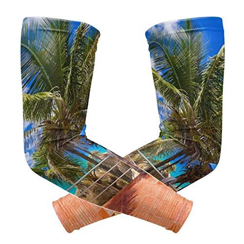LTtie UV Protection Cooling Arm Sleeves For Men & Women, Tropical Sea Uumbrella Swimming Pool Compression Sun Sleeves For Cycling, Fishing, Basketball, Running, Golf, Baseball, Volleyball & Football