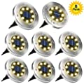 ZGWJ Solar Ground Lights,8 LED Solar Garden Lights Disk Lights Outdoor Waterproof Landscape Lights for Yard Walkway Patio Lawn Driveway Decoration (8 Pack Warm White)
