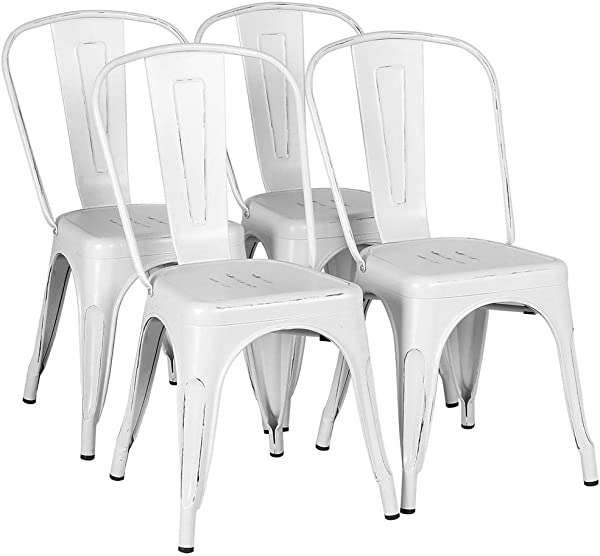 Yaheetech Metal Kitchen Dining Chairs Indoor Outdoor Distressed Style Stackable Side Coffee Chairs In Distressed White Set Of 4