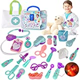 FLYINGSEEDS Doctor Kit for Kids, 24 Pcs Pretend Play Doctor Dentist Toys with Electronic Equipment, Packed in Medical Case Best Gifts for 3 4 5 6 7 Ages Boys Girls