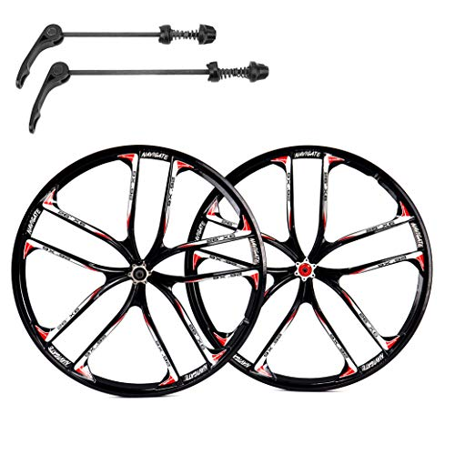 ZUKKA 26 Inch Bike Wheel Set,Magnesium Alloy Disc Brake Mountain Cycling Wheels/Fit for 7-10 Speed Freewheels/Quick Release Axles Bicycle Accessory