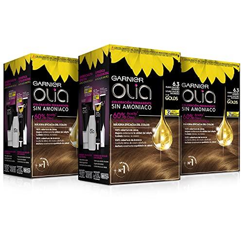 Garnier Olia - Pack de 3 coloración permanente sin amoniaco para un olor agradable con aceites florales de origen natural, color tono 6.3 rubio oscuro