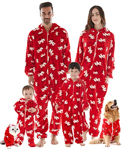 Family Christmas Pajamas Matching Set for girls, Long Sleeve Drop Seat Onesie Hooded Zippered Flannel Christmas Pajamas Women One Piece PJs Red Deer - B, S