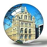 Hqiyaols Souvenir Reino Unido Inglaterra Londres Museo de Historia Natural Imán de Nevera 3D Colección de Recuerdos Regalo de Viaje Círculo Cristal Imanes de Nevera