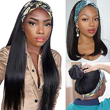 Headband Wigs For Black Women Straight Headband Human Hair Band Wigs Glueless None Lace Front Machine Made Headband Wigs Brazilian Virgin Easy Wear Wigs Natural Black  18 inch