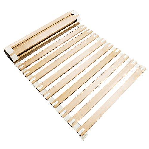 Lattenrost 140 x 220 cm rollbar | robuster Rollrost mit Starren Holzleisten | 23 Massivholz Vollholzleisten | metallfrei | Bio Bettrost mit Baumwollband