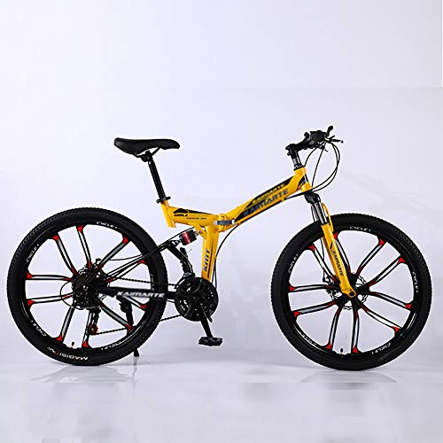 Mountain Bikes,Overdrive Aluminum Frame Trail Mountain Bike,Men Women Bicycle,26 Inch Big Wheels Hardtail Mountain Bike Yellow 26',21-Speed
