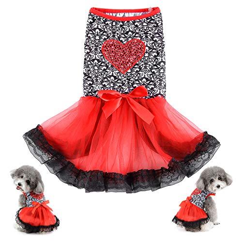 Ranphy Vestido de perro pequeo con estampado floral y cachorros en forma de corazn, vestidos de princesa, falda tut de encaje con cinta bowknot fiesta boda cumpleaos disfraz chaleco mascotas ropa