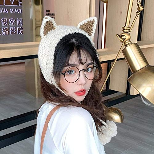 Invierno Skullies Mujer Rana Sombrero Crochet Sombrero de Punto Disfraz Beanie Sombreros Gorra Mujer Regalo Beb Anime Sombrero Fotografa Prop Fiesta-beige-2-Onesize(56-58cm)