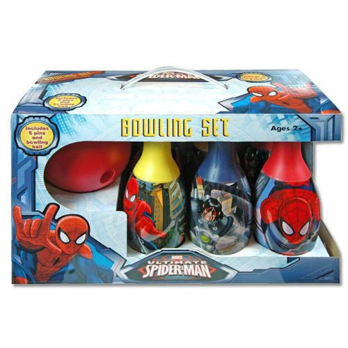 Disney Marvel Bowling Set in Display Box 6 Pins und Bowling Ball für Kinder, Spiderman Red