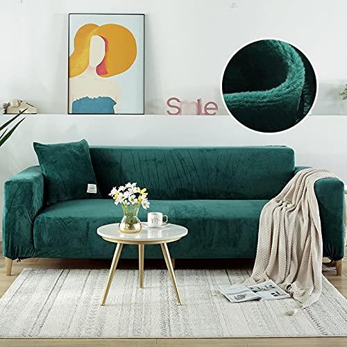 WXQY Grauer Samtstoff Sofabezug für Wohnzimmer Stretch voll bezogene einfarbige Sofabezug Sesselbezug Chaiselongue A8 4-Sitzer