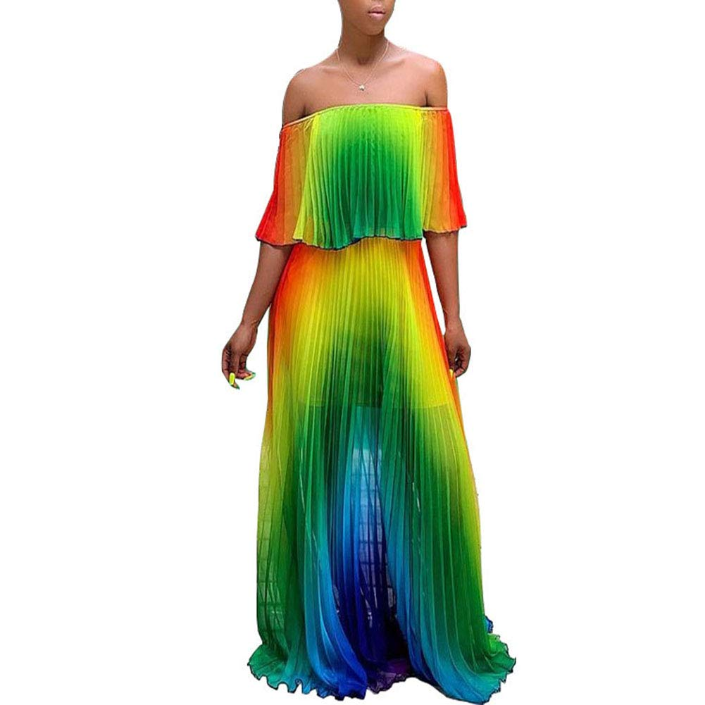 Available at Amazon: Women's Sexy Maxi Dress Off Shoulder Colorful Pleated Loose Long Dress