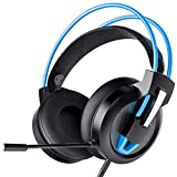 Greatever Headset PC, Gaming Headset PS4 Xbox Headset mit Noise Cancelling Mikrofon, Bass Surround Sound, Kopfhörer für PC MAC Laptop IPad IPod Smartphone (Blau)