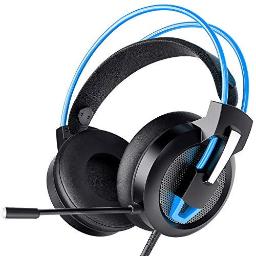 Greatever Headset PC, Gaming Headset PS4 Xbox Headset mit Noise Cancelling Mikrofon, Bass Surround Sound, Kopfhörer für PC MAC Laptop IPad IPod Smartphone (Blau)