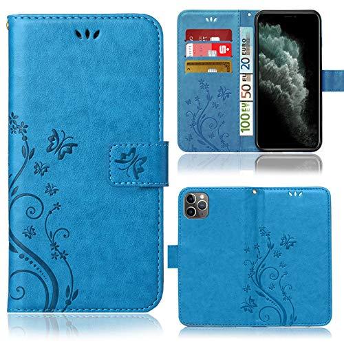 numerva Funda compatible con iPhone 11 Pro Max, funda para teléfono móvil, funda con tarjetero, diseño de flores, color azul