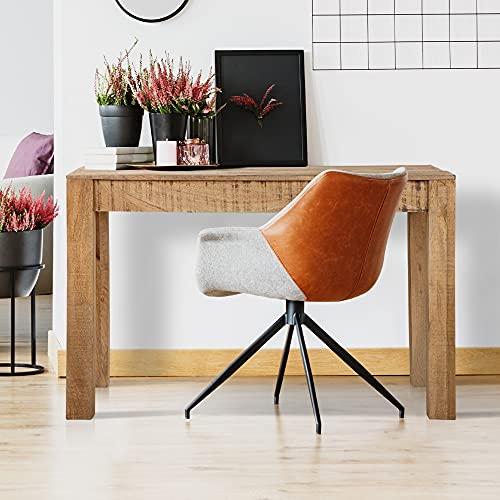 WOMO-DESIGN Mesa de Comedor 120x77x60 cm Mesita Auxiliar de Cocina Color Natural Madera Mango y MDF Mueble de Ordenador PC Pórtatil Mueble Escritorio de Trabajo Estudio Hogar u Oficina