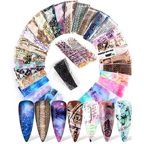 Mwoot 50 Diseños Nail Art Foil Sticker, Encaje Flor Mariposa Periódicos Mármol Pegatina Calcomanías, Uñas Transferencia Foils Transfer Cielo Estrellado Herramienta para Decoración de Uñas Manicura DIY