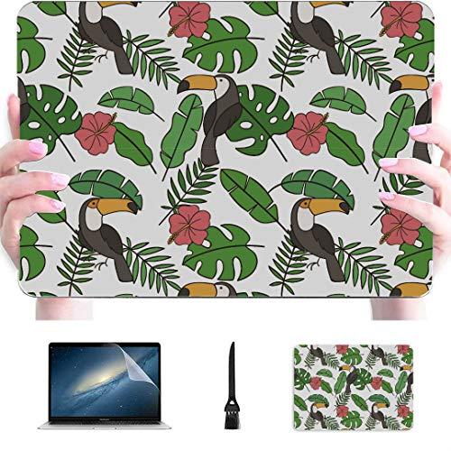 Funda Macbook Pro Tropical Summer con tucanes y Plantas Carcasa rígida de plástico Compatible con Mac Accesorios para Macbook Accesorios de protección para Macbook con Alfombrilla