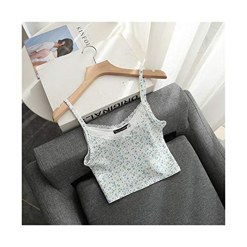 Slim Girls Blusas de algodón Suaves Verano Damas Damas Floral Blusa Corta Vintage Femenino Lindo Encaje Tops Mujeres Chic Chic Boho Tops (Color : Verde, Talla : One Size)
