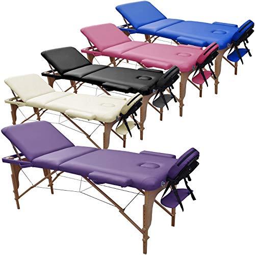 Beltom Mobile Massagetisch Massageliege 195 x 70 cm. Massagebank 3 zonen klappbar Kosmetikliege +TA. - Lila
