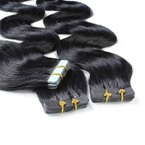 hair2heart 10 x 2.5g Tape In Echthaar Extensions, 60cm - gewellt - #1 schwarz