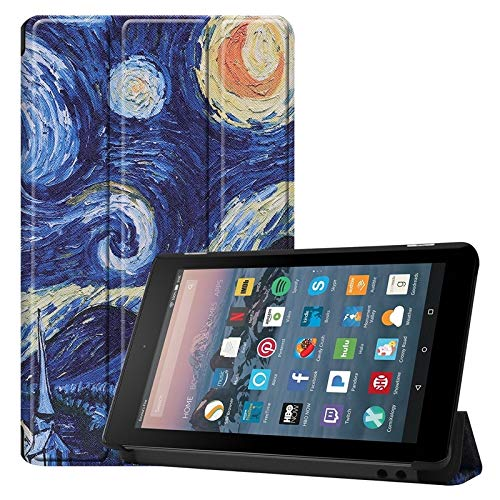 Weichunya For Amazon Fire 7 Inch (7th/8th Gen, 2017/2019 Release) Owl Butterfly Flower Dandelion Eiffel Tower Design Smart Tablet Case Trifold Stand With Auto Sleep/Wake Function (PATTERN : 6)