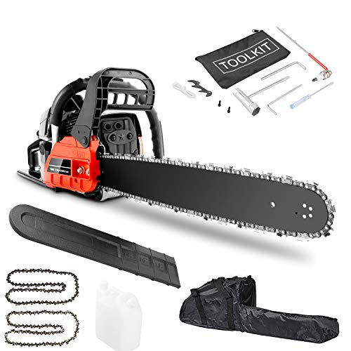 casulo 62cc 2-Cycle Gas Chainsaw, 20-Inch Professional Powered Chain Saw with Automatic Oiler, for Farm, Garden and Ranch (58 cc)